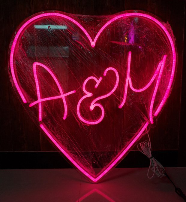 Neon light initials sign custom made letters