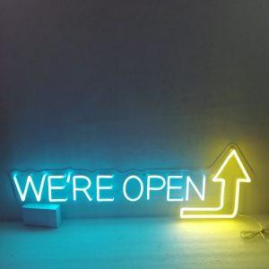 We're Open Arrow Shop Led Neon Sign