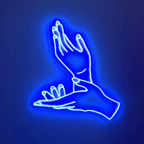 neon light sign hands art